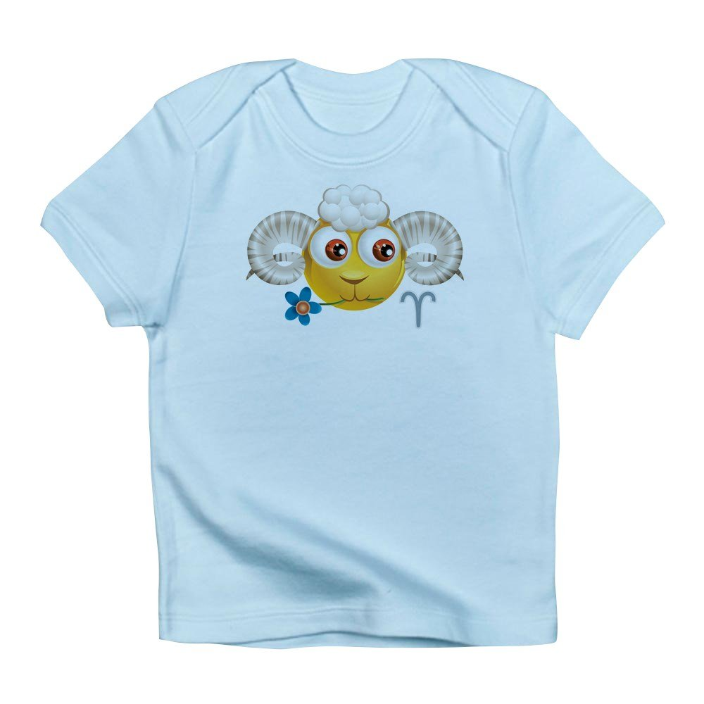 6 To 12 Months Sky Blue Truly Teague Infant T-Shirt Smiley Face Zodiac Aries