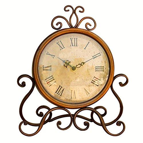 Cheap Glovion Vintage Iron Rustic Decorative Desktop Classic Clock Retro Kitchentable Clock with Roman Numerals No Second Hands