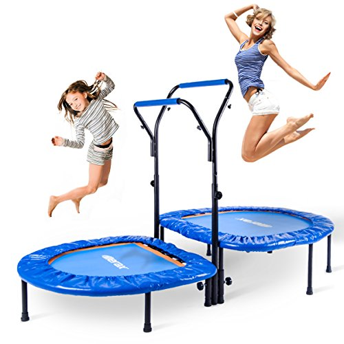 Merax Mini Rebounder Trampoline with Adjustable Handle for Two Kids, Parent-Child Trampoline (Blue Color)