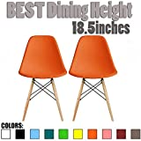 2xhome Set of Two(2) Orange - Eames Style Side Chair Natural Wood Wooden Legs Eiffel Dining Room Chairs No Arm Arms Armless Molded Plastic Seat Dowel Leg