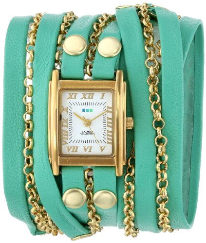 La Mer Collections Women's LMCLIFTON002 Mint Gold Clifton Square Case White Dial 14k Gold-Plated Jewelry Chains Watch
