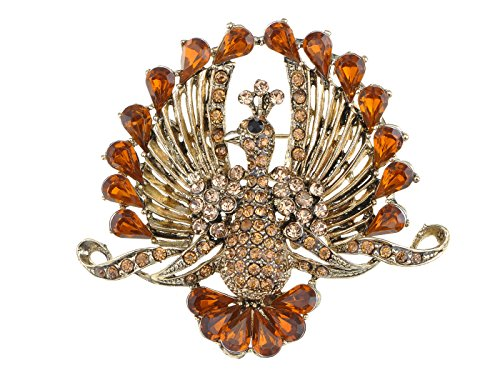 Alilang Flying Peacock Phoenix Bird Smoked Topaz Orange Brown Color Rhinestone Crystal Brooch Pin -