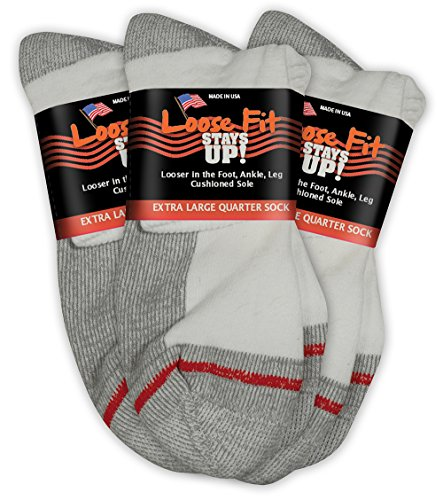 Loose Fit Stays Up Men's and Women's Quarter Socks 3 Pack Made in USA! (X-Large, White (Red - Quarter Sock Lo