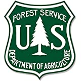 GREEN & WHITE US Forestry Shield Shaped Sticker (logo forest service badge)