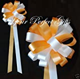 10 LIGHT ORANGE WHITE WEDDING 9'' PEW BOW BRIDAL SHOWER