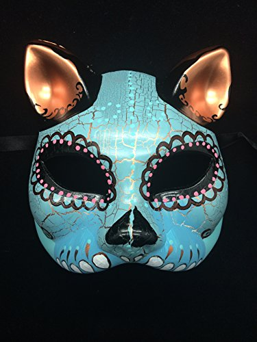 New Day of the Dead Laser Cut Venetian Halloween Masquerade Mask Costume Magnificient Sky Blue Design Cat Inspired Mask Day Venetian Mask