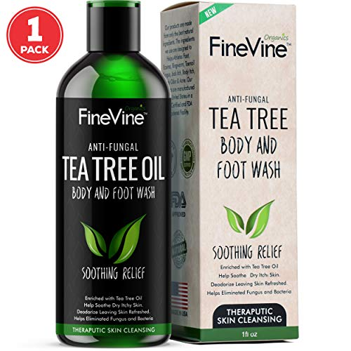 Antifungal Tea Tree Oil Body Wash - Made in USA - Helps Jock Itch, Nail Fungus & Athletes Foot Treat, Eczema, Ringworm and Body Odor - Best Natural Soap for Skin Irritations. 12 oz