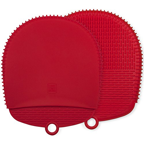 Pocket Oven Mitt - The Ultimate Pot Holders / Oven Mitts | 100% Silicone Mitt is Healthier Than Cotton & Easier to Clean, Won't Grow Mold or Bacteria | Unique Design Makes it Safe, Non-Slip, Flexible (Coral Red, 1 Pair)