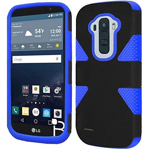HR Wireless Cell Phone Case for LG G Stylo LS770 H631 G4 Stylus Slim Hybrid Dual Layer Armor - Black + Dark Blue