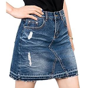 ililily Woman Vintage Distressed Washed Cotton Denim H-line Mini Skirt