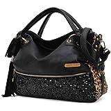 Oryer Fashion Women Handbag Tote Pu Clutch Lady Sexy Cool Lux Punk Leopard Sequin Bag