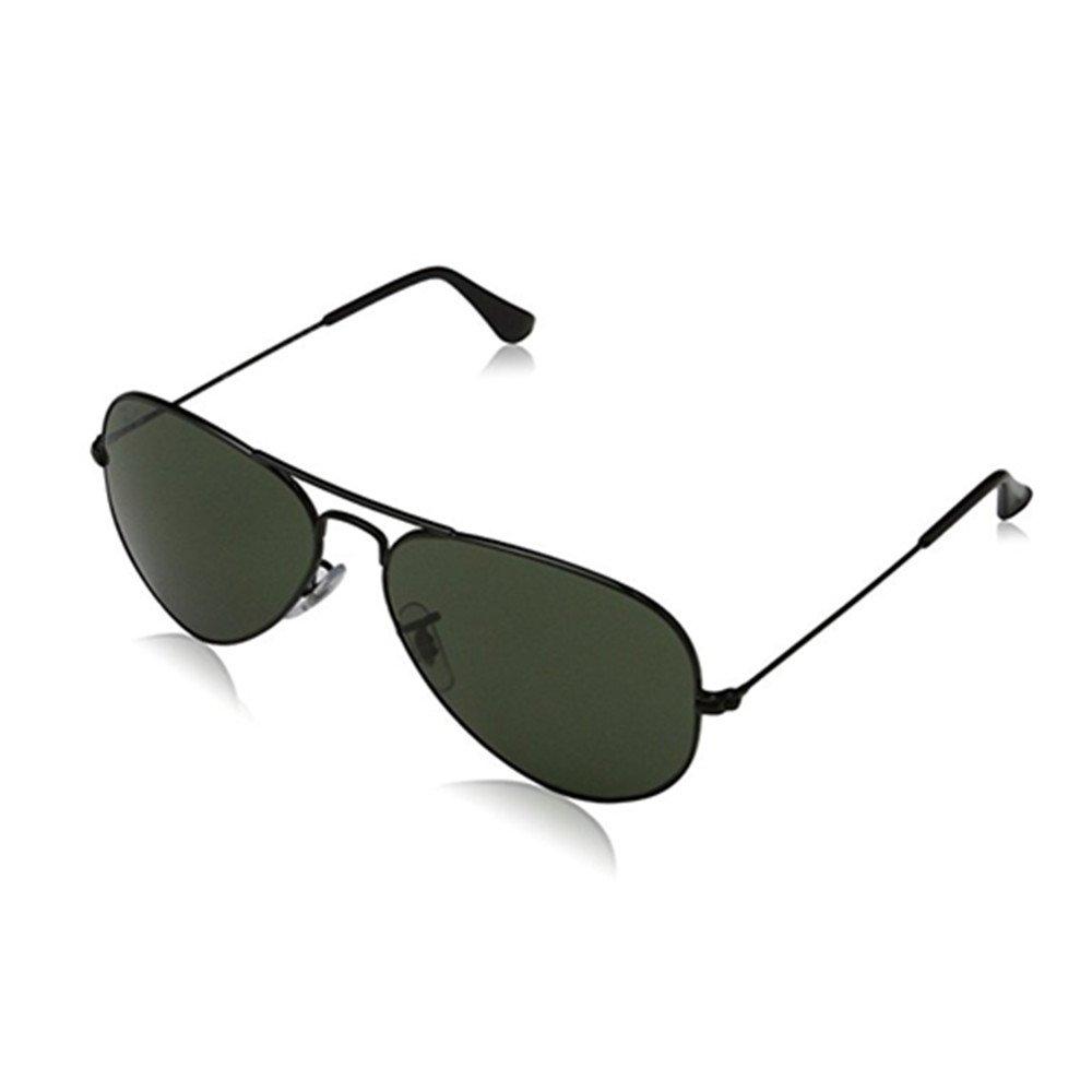 Rav-Ban RB3025 Aviator Metal Crystal lenses Polarized UV400 Protection Classic Fashion Retro Sunglasses for women men Glasses. (Black/Grey Metal)