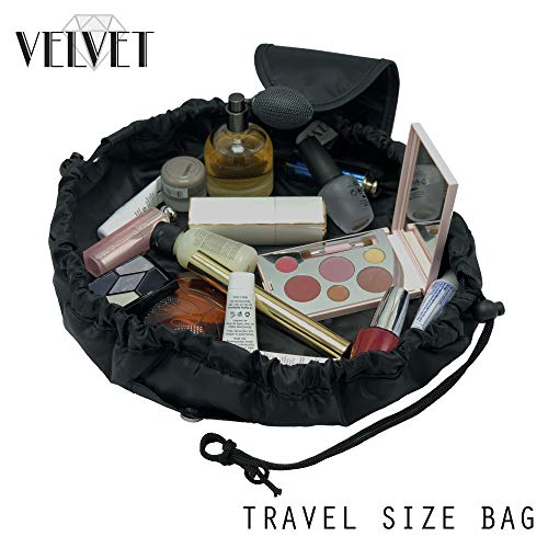 Toiletry Travel Bag | Lazy Drawstring Makeup Organizer with Magnetic Snap | Waterproof Cosmetic Pouch for Women, Men, Girls (Large 18 inches, Black)