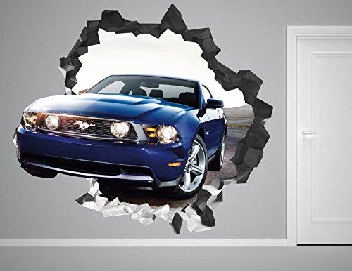 Ford Mustang Wall Decal Smashed 3D Sticker Vinyl Decor Mural Car Sport - Broken Wall - 3D Designs - AH85 (Giant (Wide 50