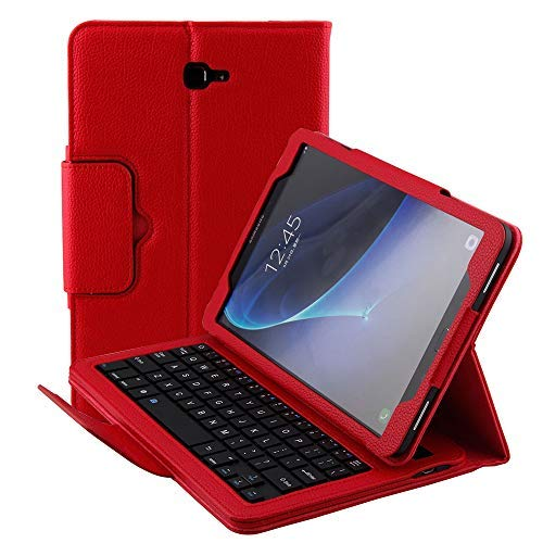 Samsung Galaxy Tab A 10.1 Case SM-T580/SM-T585 Keyboard Wireless Bluetooth Detachable Keyboard Magnetic Folio with Auto Sleep/Wake Multi-Angle Stand Slim Leather Protective Cover 2016 (Red)