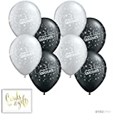Andaz Press Printed Latex Balloon Party Kit with Gold Cards & Gifts Sign, Grad Black, 8-Pk, 2018 2019 2020 Graduation Decorations