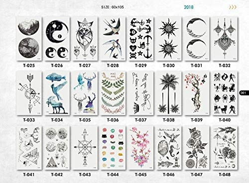 20 Sheets Superb Womens Mens Temporary Tattoos Body Sticker Colorful Waterproof Tattoos | Flowers | Animals | Mandala | Removable