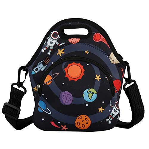 Neoprene Lunch Bag Reusable Tote Bag Insulated Lunch Box Large Lunch Tote Handbag Fordable for Children Kids Men & Women, Boys (Outer Space)