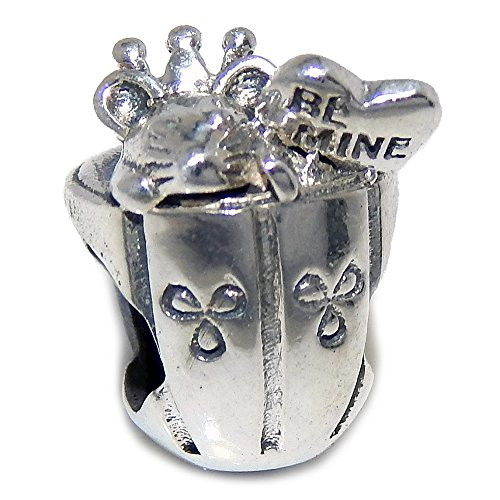 Pro Jewelry 925 Solid Sterling Silver Mouse and Heart in a Cup Charm Bead (Mine Silver Crown)