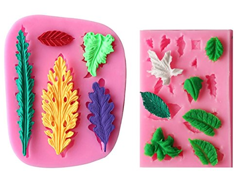 ((set of 2)Tree Leaf Silicone Mold Fondant Clay Mould Leaf Shape 3d Chocolate DIY Decorating tools kit)