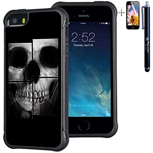 iPhone SE 5 5S Case, True Color X-Ray Skull Emboss Printed Impact Resistant TPU Protective Anti-slip Grip Snap-On Soft Rugged Cover [True Impact Series] + FREE Stylus and Screen Protector Printed X-ray