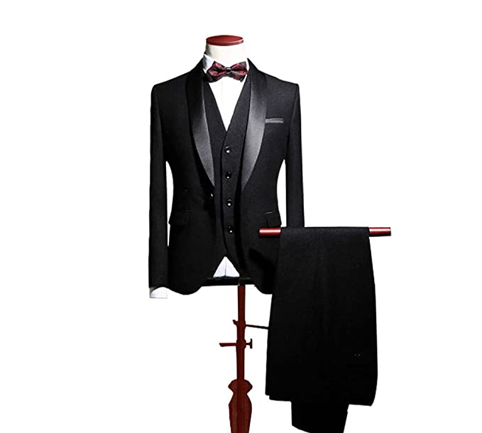 dd928ff70f8 Men's Suit Groomsmen Wedding Suits for Men 3 Pieces Business Groom  Tuxedos-Black-36