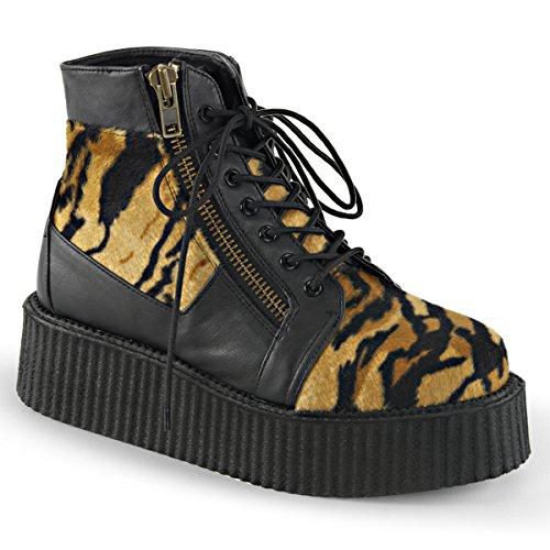 Demonia Mens V-CREEPER-571 Boots, Blk Vegan Leather -Tiger Print Faux Fur, Size - 7 Demonia Fur Boots