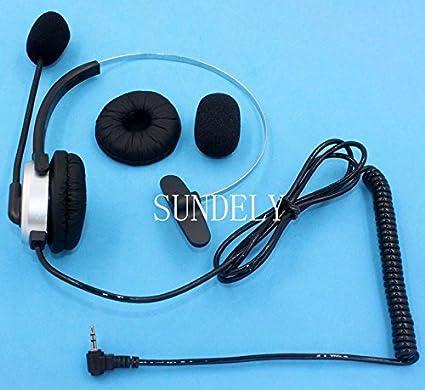 SUNDELY® Single Ear Silver Ear Shell & Boom Mic Headphone for Lucky  Goldstar (LG) Motorola NEC Nextel Panasonic Polycom Telephone /IP Phone  with 2 5mm