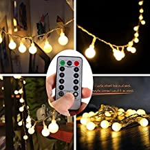 Ball Fairy String Light,WONFAST Dimmable 17 Feet 50leds Starry Globe Christmas String Lights with Remote & Timer Battery Operated Ambient Lighting for Garden, Bedroom, Party, Wedding, Patio (Warm white)