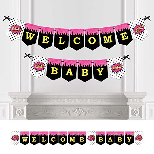 BAM! Girl Superhero - Baby Shower Bunting Banner