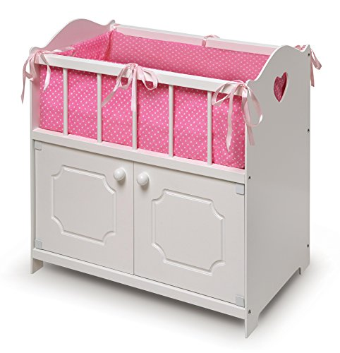 Badger Basket White Storage Doll Crib with Bedding (fits American Girl Dolls) ()