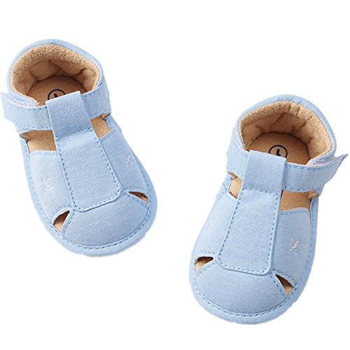 Sunward Infant Baby Boys Girls PU Leather Rubber Sole Summer Sandals First Walkers Moccasins (Blue, 18~24 - Clothing Footwear