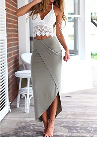 jasit Skirt Set, Women Summer Two Pieces V Neck Backless Lace Tops+Irregular Long Skirt S by jasit