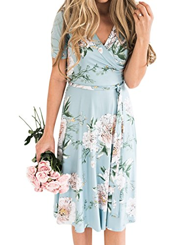 Gemijack Womens Bridesmaid Dresses Floral Wrap V Neck Short Sleeve Summer Midi Dress with Belt Blue ()