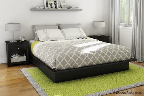 South Shore Step One Platform Bed with Storage, Full 54-Inch, Pure Black - bedroomdesign.us