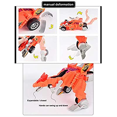 Elevin(TM)???????? Electric Omnidirectional Deformation Dinosaur Chariots with Music Light Toy Gift (Orange): Toys & Games