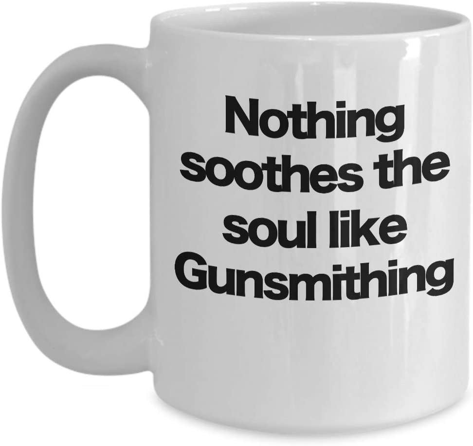 Taza de café blanco Gunsmith Soul calmante, marksman, tirador afilado, campo de disparo, reparador de armas, hombre