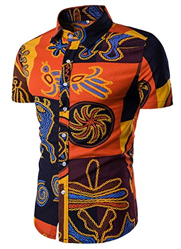 (AIEOE Men's Big and Tall Shirts Short Sleeve Hawaiian Shirt Grey 3XL)