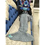 Hughapy Christmas Soft Mermaid Tail Blanket Handmade Living Room Sleeping Bag For Kids Adult (Adult, Grey)