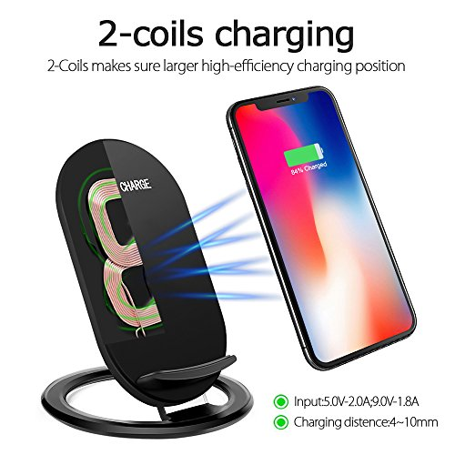 Hootech iPhone X Wireless Charger, QI Fast Wireless Charging Pad Stand, Standard Charge for Samsung Galaxy Note 8 S9 Plus S8 Plus S8 S7 S7 Edge Note 5, Standard Charge for iPhone X iPhone 8/8 Plus by Hootech (Image #1)