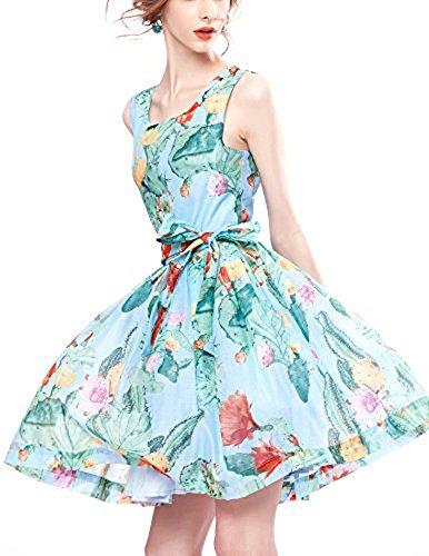 A Sommer Kleid Ärmellos Tailliert Hellblau Geblühmtes Hellblau Kleid Linie Frühling Beige O5T7BWScX