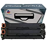 Triple Best Set of 2 Remanufactured 125A (CB540A) Black Toner Cartridge used with HP Color LaserJet CP1215 CP1515n CP1518ni CM1312 MFP CM1312nfi MFP CP1217