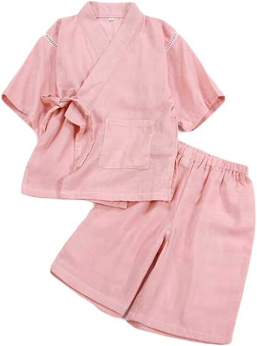 Pigeon Fleet Pijamas Niñas Traje Kimono Conjunto de Pijamas Sueltos de algodón Transpirable Yukata, Rosa: Amazon.es: Hogar