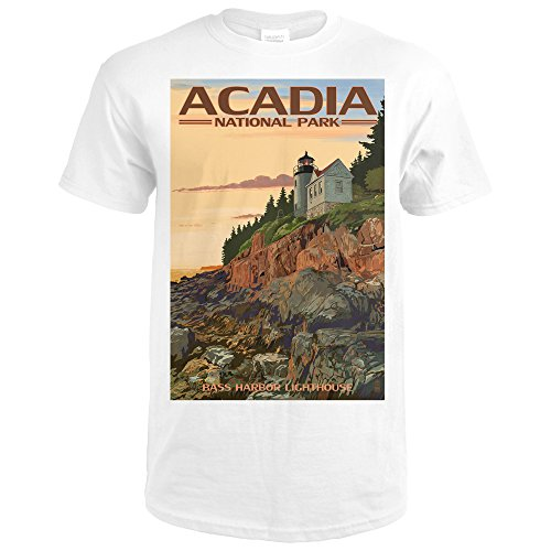 Acadia National Park, Maine - Bass Harbor Lighthouse (Premium White T-Shirt - Md Harbor National