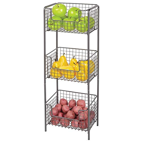 mDesign 3 Tier Vertical Standing Kitchen Pantry Food Shelving Unit - Decorative Metal Storage Organizer Tower Rack with 3 Basket Bins to Hold and Organize Fruit, Potatoes, Snacks - Graphite Gray (Metal Decorative Shelving Unit)