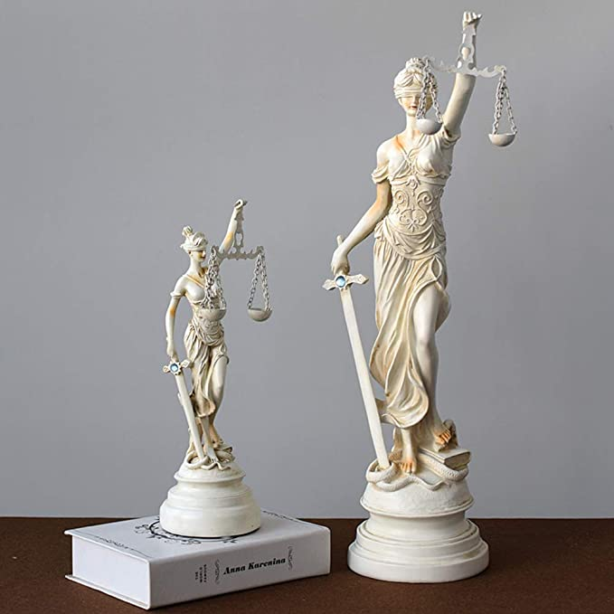 qwqqaq con Los Ojos Vendados Lady Justice Estatua, Romano Diosa del Derecho Escultura Resina Museo De-Grado Colección para El Bufete De Abogados Abogado Regalo-a 15x15x57cm(6x6x22inch): Amazon.es: Hogar