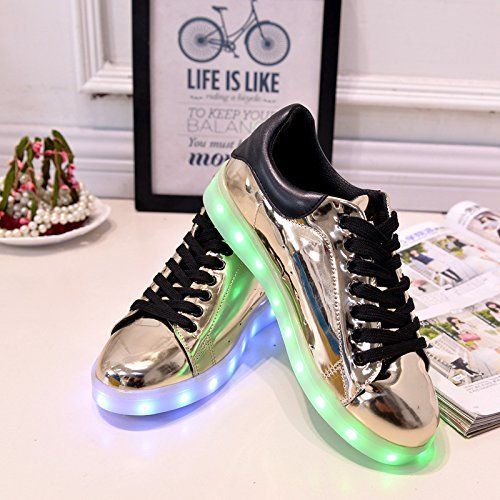 (+Small towel)Colorful LED lights glow and silver shoes new casual shoes USB charging luminous male and female couple shoes fashion c1 ok2dUJfB