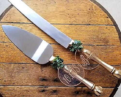 Personalized Gold Wedding Cake Knife And Server Set Acrylic Cake - Deco Art Cake Server