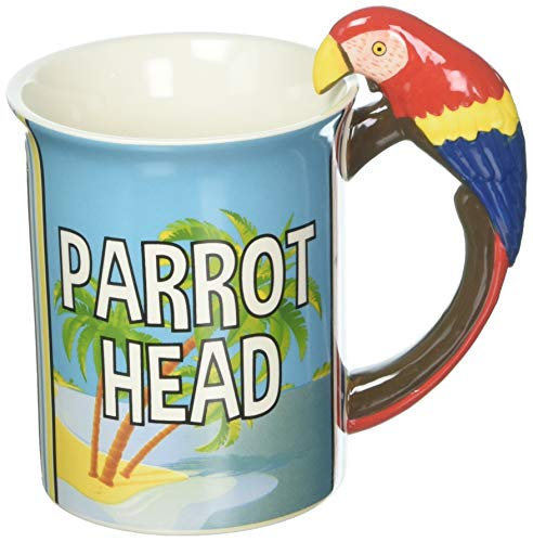 Enesco 6000154 Margaritaville By Our Name Is Mud Parrot Head Stoneware Coffee Mug, 16 oz, Multicolor