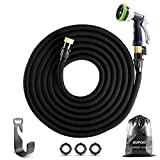 KUPOO Expandable Garden Hose -100 ft Flexible Water Hose,3/4 inch Solid Brass On/Off Valve Fittings, Kink-Free Pocket Hose Comes with Metal 9 Function Heavy Duty Hose Nozzle, Hanger, Easy Storage Bag